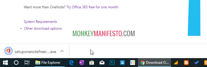 chrome showing onenote exe file