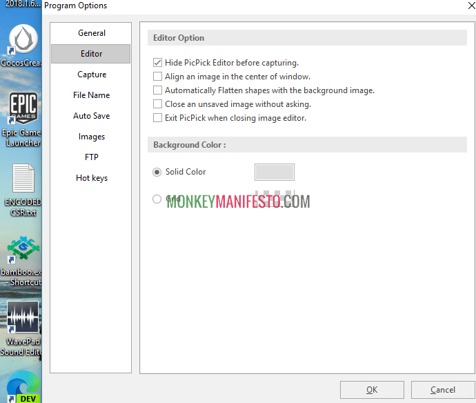 how to change editor option on picpick