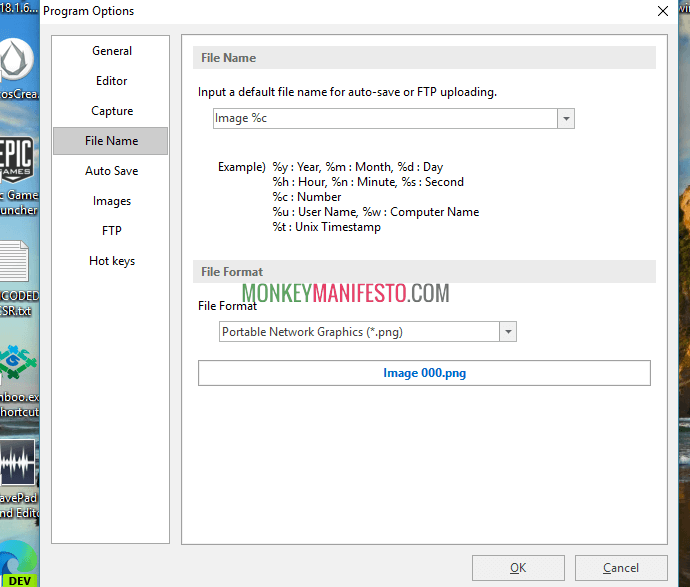 change ftp setting on picpick