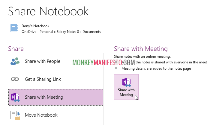 share onenote to meeting