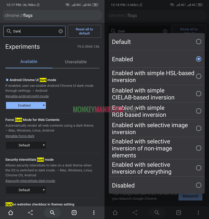 force website to use dark mode on chrome android