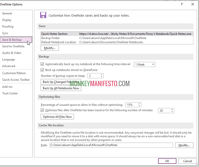 backup onenote to use it effectively