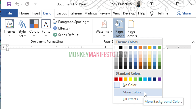 change background color in word