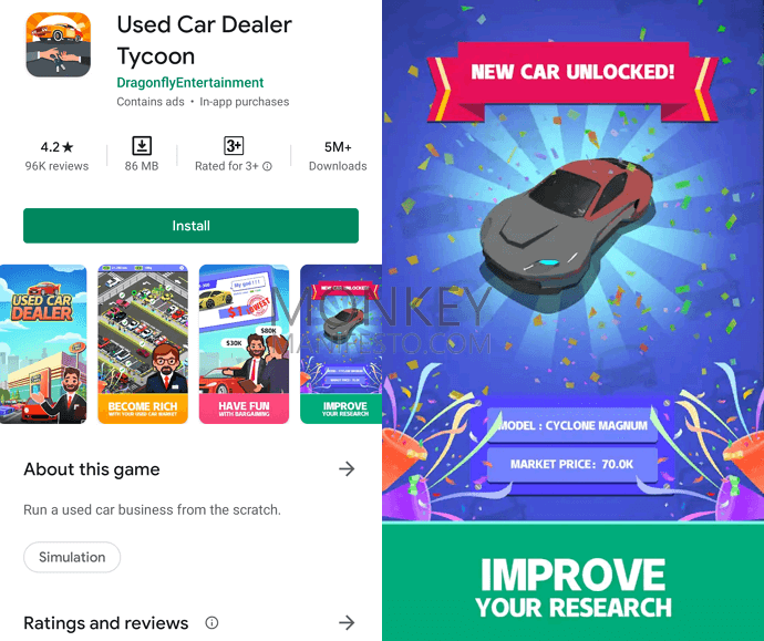 used car dealer idle game android