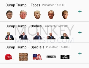 donald trump faces, bodies, and other whatsapp stickers