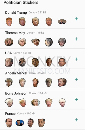 politician whatsapp stickers donald trump and theresa may
