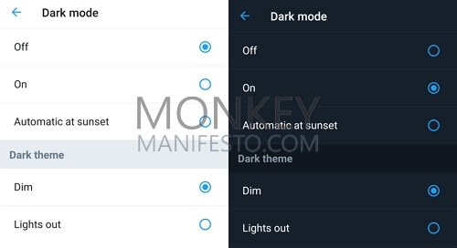 how to get dark mode for twitter android