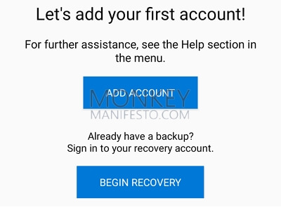 begin recovery of microsoft authenticator