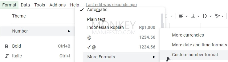 using custom number format to add bullet points