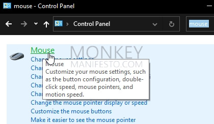 mouse on control panel