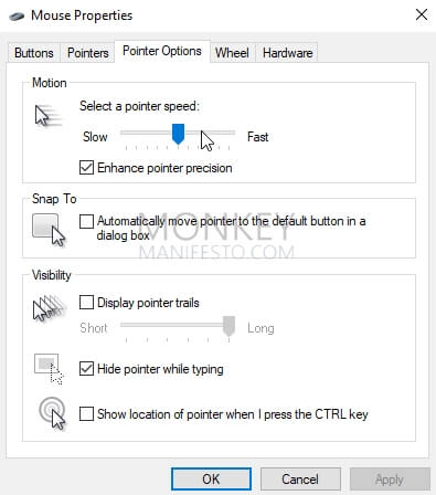 select a pointer speed