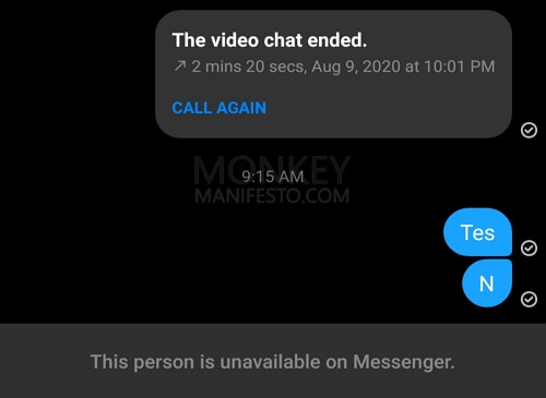 this person is unavailable on messenger