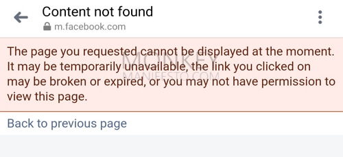 content not found facebook this page you requested cannot be displayed at the moment