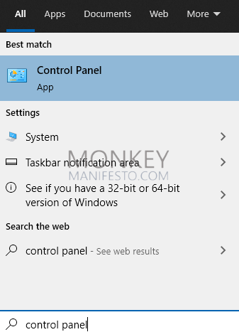 searching control panel