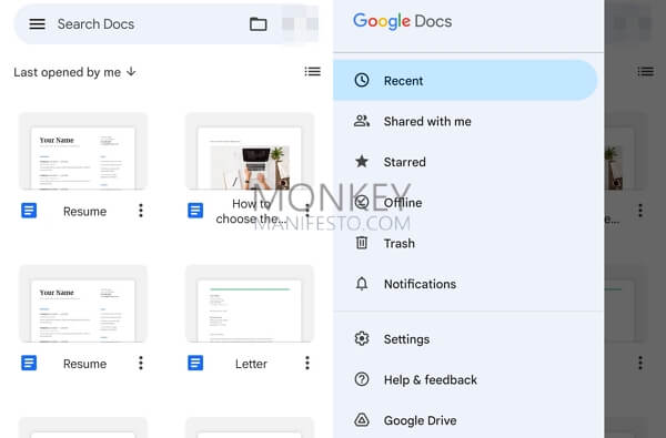 google docs on android